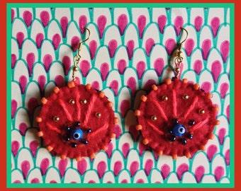 Red Peacock eye-earrings