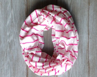 Hot Pink and White Lace Striped Infinity Scarf // Summer Scarf // Spring Scarf // Loop Scarf // Circle Scarf