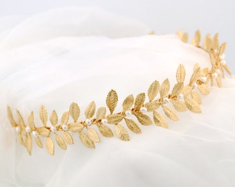 Gold leaf headband - Grecian headpiece - leafy gold headband - wedding headband - bridal headpiece - Laurel headband
