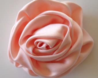 "CLOSEOUT SALE 3"" Peach Satin Rolled Rose Flower Rosettes Rose-Fabric Flowers-Applique-Satin rose-ruffles-wholesale-flower-supplies-wedding"