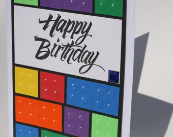 Hand crafted Happy Birthday Lego card. Paper Art made with punches and stamps.