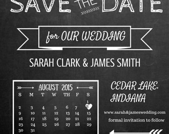 Save the Date Invitations/ PDF/ Customized/ Download/Chalkboard