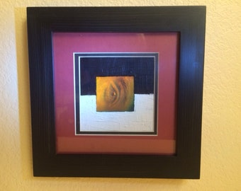 Black and White - Collage ( eye hologram, oil, paper)
