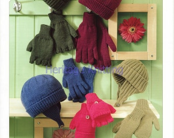 hats and gloves dk knitting pattern 99p
