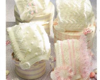 girls bonnets dk knitting pattern 99p