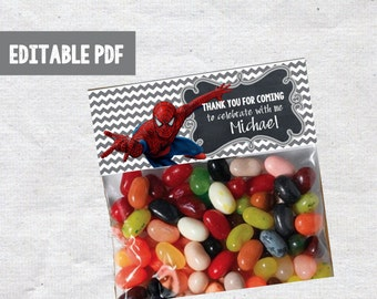 Spiderman Favor Bag Toppers - INSTANT DOWNLOAD  Spiderman Birthday Printable Ziploc Bag Editable PDF
