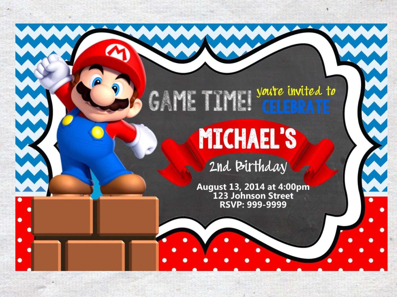 super Mario Brothers Birthday Invitation Chalkboard Chevron – Mario Party Invitations