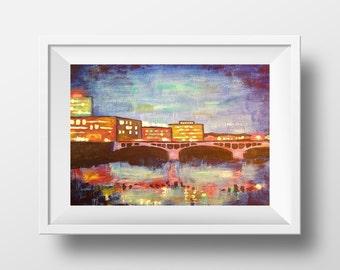 Cedar Rapids Print, Acrylic Painting, Fine Art Print , Giclee Print , Wall Art , Wall Décor
