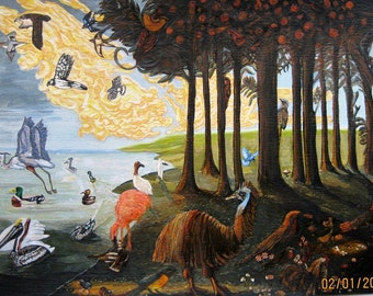 original surrealist acrylic painting of birds in a forest by the sea