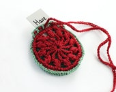Crochet Drawstring Jewelry Holder, crystal pouch,tribal ornament,sun pattern,crochet bag,mini pendant, necklace wallet, red and green, purse