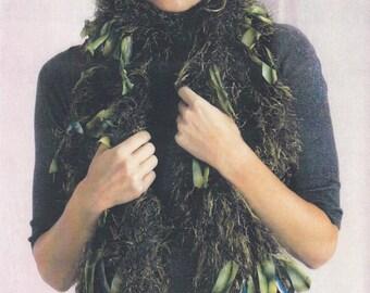 Knit Scarf Pattern, Silk Scarf Pattern, Scarf Necklace, Trendsetter Yarns Lane Borgosesia Knitted Scarf Pattern, Scarf Knitting Pattern