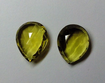 Green Gold Quartz Faceted Pear Gemstone Beads 15X19-15X20mm AAA Matched Pair (2pcs.)