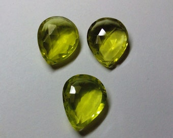 Green Gold Quartz Faceted Pear Gemstone Beads 18X23-19X24mm AAA Three Piece Set (3pcs.)