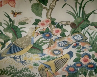 SCHUMACHER PHEASANT BIRDS Chintz Fabric 10 Yards Alabaster Cream Blue Bark Green Multi