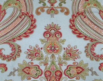 SCALAMANDRE HUDSON PAISLEY Belle Jardin Collection Fabric 10 Yards Green Persimmons Multi