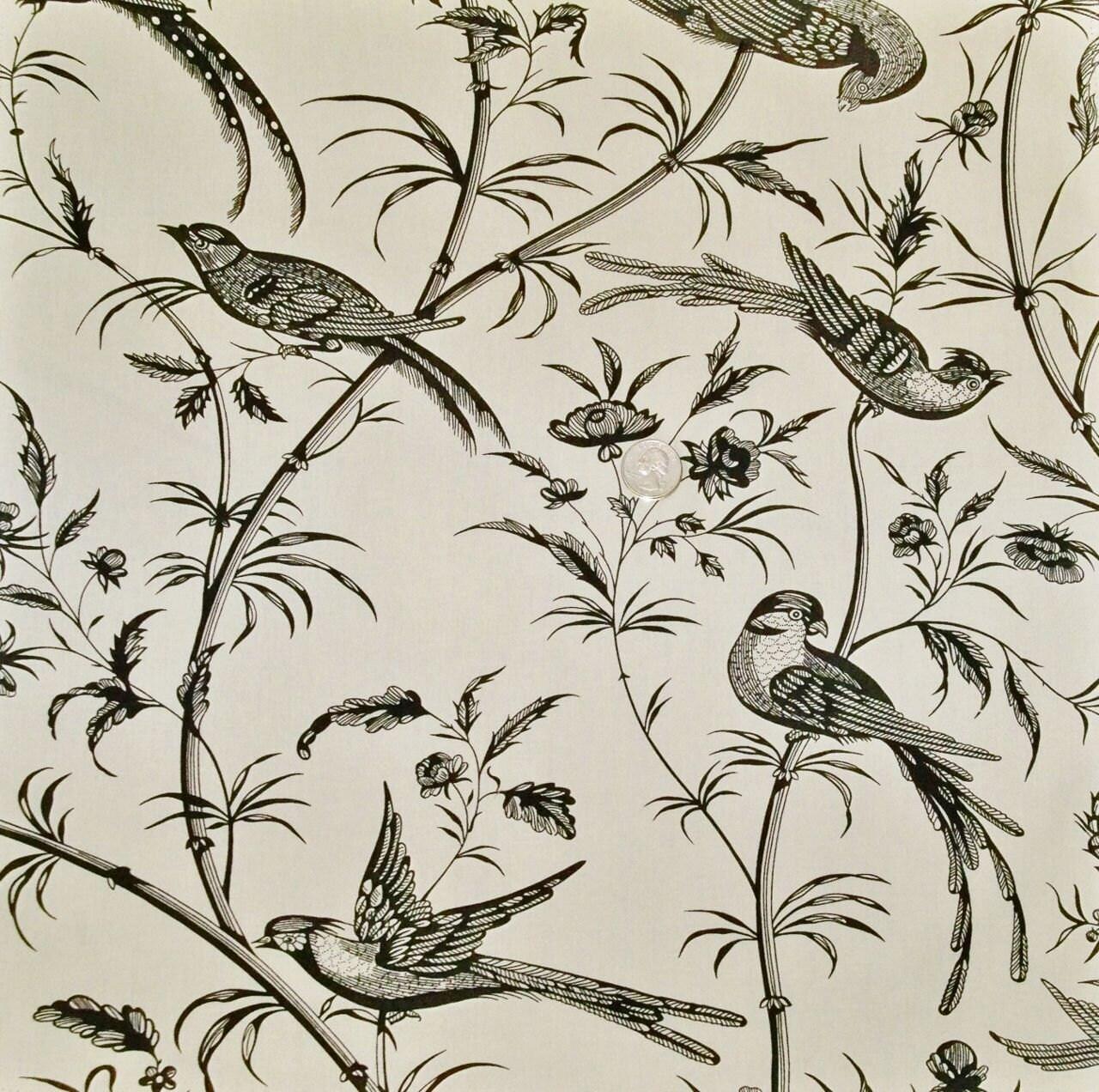 brunschwig u0026 fils bengali birds toile fabric 10 yards cream black