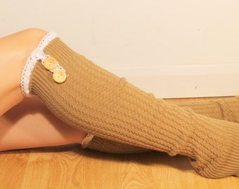 Light brown Leg Warmers with Lace and Buttons  Beige Ladies Knit Boot Socks - Long Leg Warmers - Long Boot Socks - Womens Clothing
