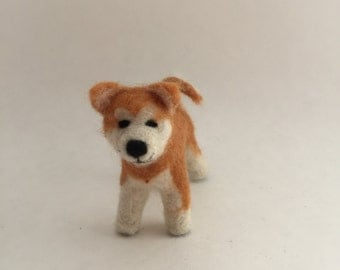 Needle-Felted Akita Dog Sculpture