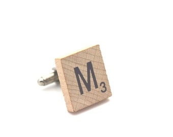 Wooden Scrabble Letter Cufflinks. ( Sold individually ) . Letter M . SKU005509