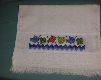 Cross Stitched Fish Design Bathroom Hand Towel