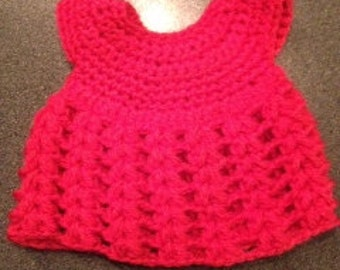 pink baby dress, crocheted