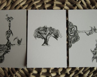 Contact Set -  A Set of 3 Unique Postcards - from original drawing