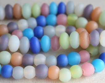 Frosted Glass Beads, Beach Glass Beads, Round, Multicolor, Matte, Beach Glass, Sea Glass, Orange, Gray, Pink, Pastel, Recycled Glass