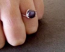 SALE! Black Pearl ring,solid silver ring, real pearl ring,stackable ring, delicate ring, wedding ring, bridal jewelry, big pearl