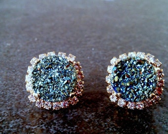 SALE! Genuine Drusy Quartz earrings, Rhinestone studs, swarovski Crystal,April earrings,bridesmaids jewelry, gold earrings