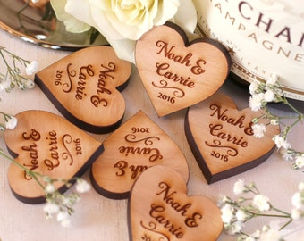 Personalised Wooden Mr & Mrs Love Hearts Wedding Table Decoration Favour Cherry 3cm x 3cm