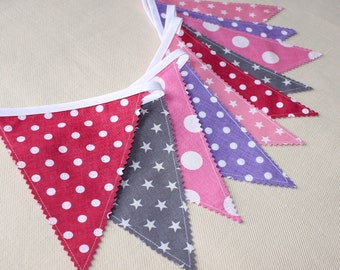 Pink & Gray Flag, Fabric Bunting ,Fabric Banner, Nursery Decor, Alice in wonderland, Hot Pink, Purple Bunting, Baby Shower Girl, Baby Gift,