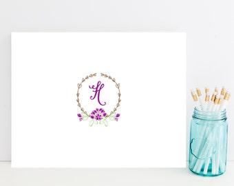 Purple Customized Stationery - Cottage Chic Personalized Stationary