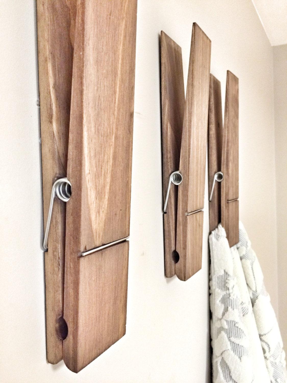 SUPER HUGE Jumbo Rustic 12 Decorative Clothespin In Dark Walnut Finish