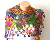 Spring  Colorful Floral Design Shawl  Elegant and Chic