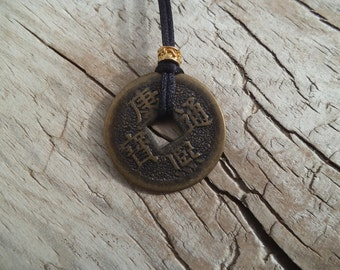 Chinese coin, chinese coin pendant, ancient chinese coin, rocks, minerals, pagan, wicca, chakra, reiki, wiccan, shaman, stones, cab