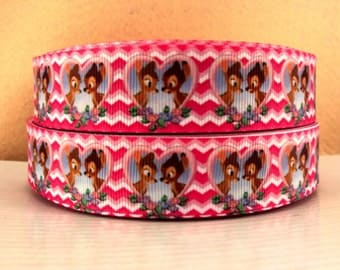 1 inch Pink Chevron with Cute Deer Valentine's day Love Printed Grosgrain Ribbon for Hair Bow