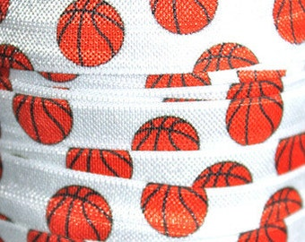 5/8 inch Basketball on White Balls Sports Fold Over Elastic FOE