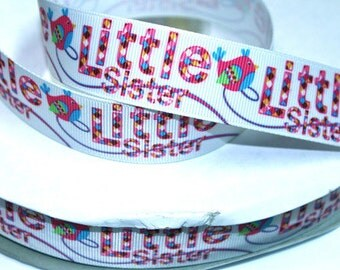 1 inch Little Sister (Birdie design) Printed Grosgrain Ribbon for Hair Bow