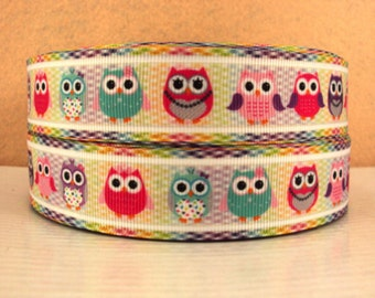 1 inch Little Owls on Multicolor Background - OWL - Printed Grosgrain Ribbon for Hair Bow