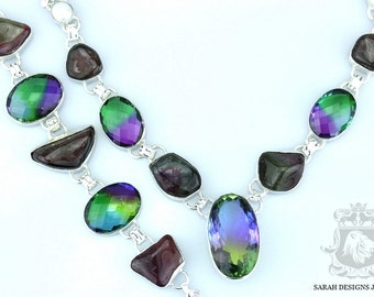 Afghan WATERMELON TOURMALINE QUARTZ 925 Solid Sterling Silver Bracelet Necklace Set 60