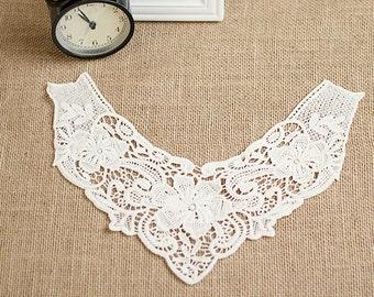Venice Cotton lace Collar Appliques,Floral Emboridered Collar 1 pcs(91-16)
