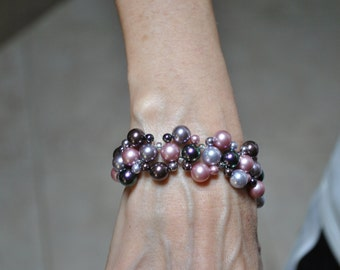 Lavender and Mauve Swarovski Crystal Pearl Bracelet with Matching Earrings