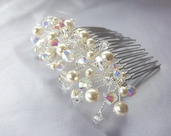 Swarovski crystals and pearls on silver plated comb - Handmade Lisette Bridal or Prom Comb