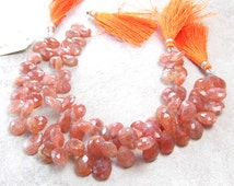 Faceted 8x10-9x12mm Sunstone Briolettes, HALF Strand-4 inches (22 pieces), Sunstone Gemstone