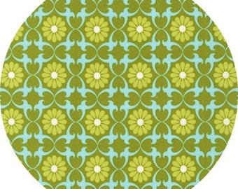 SALE Pick a Bunch, Nancy Mimms - Daisies in Olive - 1 yard