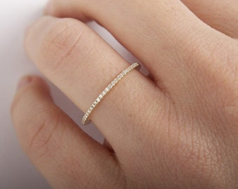 1.0mm FULL Eternity Band 14K White Gold Micro Pave F VS1 0.28ctw Diamond Ring/ Wedding Ring/ Wedding Band/Anniversary Band