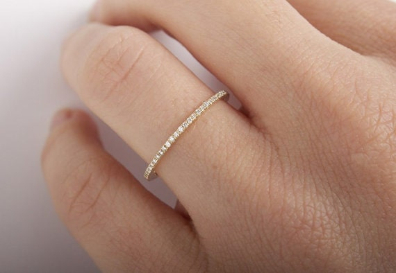 15mm F VS1 FULL Eternity Band 14K White Gold Micro Pave