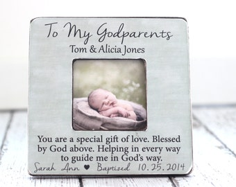 Godmother Godfather Godparents GIFT Personalized Picture Frame Baptism My Loving Godparents