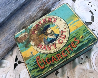 Players Navy Cut Antique Cigarette Tin, Tobacciana, Antique Cigarette Tin Box, Antique Tin Box, Cigarette Box, Vintage Tobacco Tin