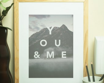 Custom Home Decor- YOU & ME Outdoor Mountain Background
